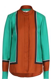 Шелковая блуза с воротником-стойкой Diane Von Furstenberg