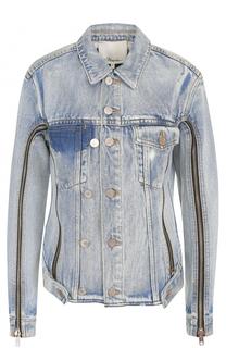 Укороченная джинсовая куртка с потертостями 3.1 Phillip Lim