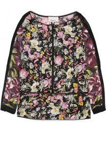 Шелковая блуза с цветочным принтом и открытыми плечами 3.1 Phillip Lim
