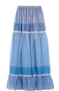 Шелковая юбка-макси с оборкой Stella McCartney