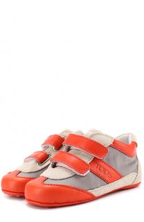 Комбинированные кроссовки с застежками велькро и отделкой из текстиля Tod's Tods