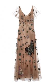 Платье в пол с вышивкой и оборкой Valentino