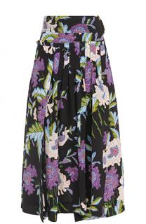 Шелковая юбка со складками и цветочным принтом Diane Von Furstenberg