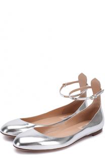 Балетки Tan-Go из металлизированной кожи с ремешком на щиколотке Valentino