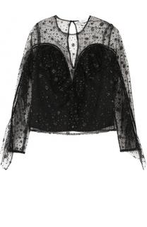 Полупрозрачный топ с оборками и вышивкой Alice McCall