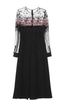 Платье с полупрозрачным лифом и вышивкой бисером Valentino