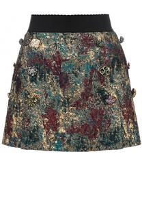 Мини-юбка с широким поясом и металлизированной отделкой Dolce & Gabbana