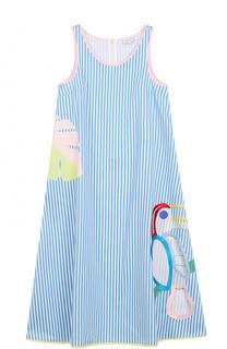 Хлопковое платье свободного кроя в полоску Mira Mikati
