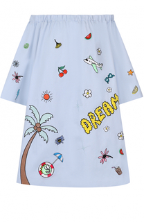 Платье свободного кроя с вышивкой и открытыми плечами Mira Mikati