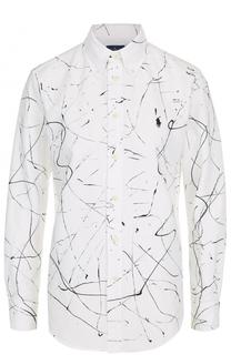 Хлопковая блуза прямого кроя с принтом Polo Ralph Lauren