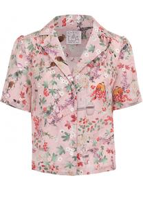 Шелковая блуза с коротким рукавом и цветочным принтом Stella Jean