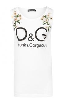 Удлиненный топ с фактурной цветочной отделкой Dolce & Gabbana