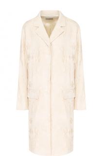 Пальто прямого кроя с фактурной отделкой Dries Van Noten