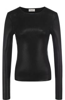 Облегающий пуловер с металлизированной отделкой Saint Laurent