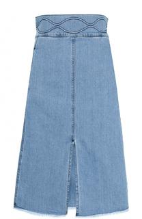 Джинсовая юбка с широким поясом и разрезом See by Chloé