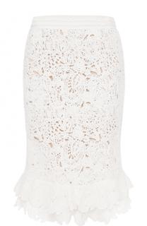 Кружевная юбка-миди с оборками Oscar de la Renta