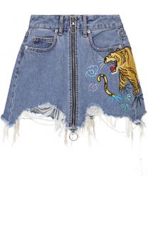 Джинсовая юбка с потертостями и вышивкой Marcelo Burlon