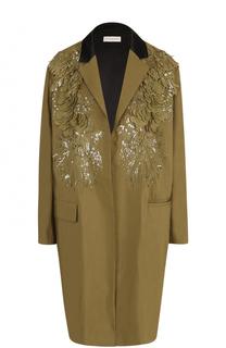 Пальто прямого кроя с вышивкой пайетками Dries Van Noten