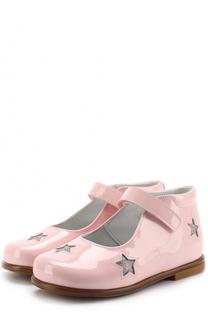 Туфли из лакированной кожи с застежками велькро и глиттером Beberlis