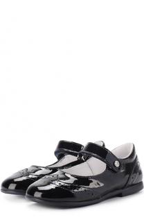 Туфли из лакированной кожи с застежкой велькро и брогированием Naturino