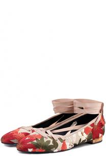 Балетки с цветочной вышивкой и лентами Paloma Barcelo