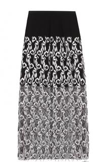 Полупрозрачная юбка с контрастной вышивкой Dries Van Noten