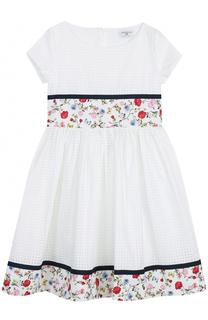Платье с перфорацией и контрастной отделкой Monnalisa