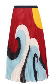 Плиссированная юбка-миди с принтом REDVALENTINO