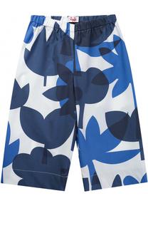 Хлопковые брюки свободного кроя с принтом Il Gufo