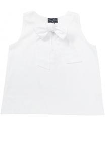Хлопковая блуза свободного кроя с бантом Oscar de la Renta