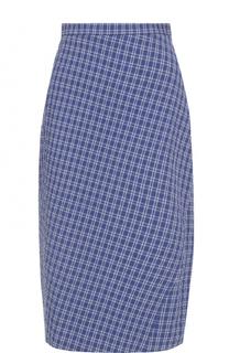 Клетчатая юбка-миди с разрезом Altuzarra