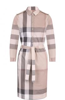Платье-рубашка в клетку с поясом и погонами Burberry