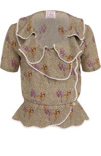 Шелковая блуза с принтом и оборками Stella Jean