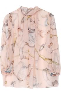 Шелковая полупрозрачная блуза с воротником аскот Dolce & Gabbana