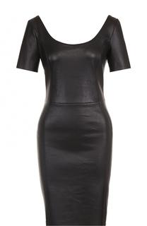 Кожаное приталенное платье с круглым вырезом DROMe