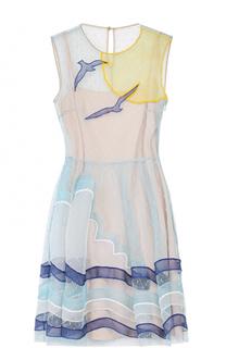 Полупрозрачное мини-платье с отделкой REDVALENTINO