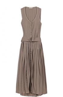 Платье с плиссированной юбкой и поясом Nina Ricci