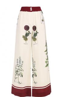 Шелковые широкие брюки с принтом Erika Cavallini