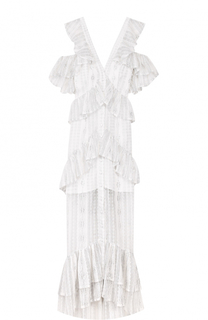 Кружевное платье с оборками и открытыми плечами Alice McCall
