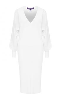 Приталенное платье-миди с V-образным вырезом Ralph Lauren