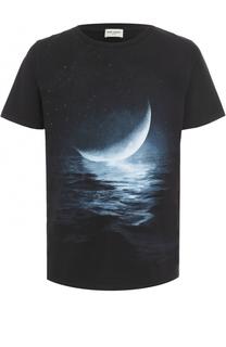 Хлопковая футболка с принтом Saint Laurent
