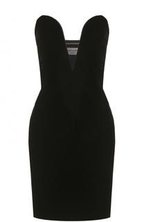 Платье-бюстье с глубоким V-образным вырезом Saint Laurent