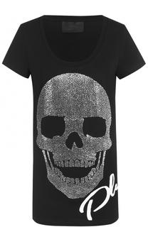 Удлиненная футболка с декоративной отделкой Philipp Plein