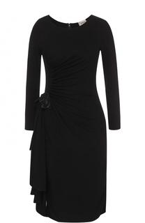 Платье с драпировкой и длинным рукавом Armani Collezioni