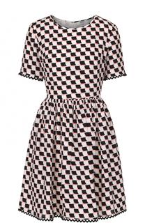 Шелковое мини-платье в клетку Kenzo