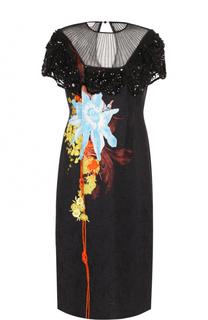 Платье с полупрозрачной вставкой и принтом Dries Van Noten