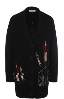 Удлиненный кардиган с контрастной вышивкой Valentino