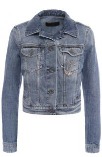Укороченная джинсовая куртка с потертостями Dolce & Gabbana