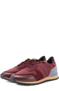 Комбинированные кроссовки Rockrunner на шнуровке Valentino