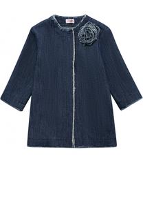 Хлопковое пальто с бахромой и декором Il Gufo